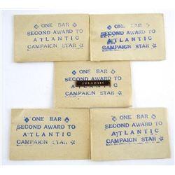 Scarce Lot (5) WWII Atlantic Star Bars in Original