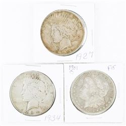 Group of (3) USA Silver Peace and Morgan Dollars: