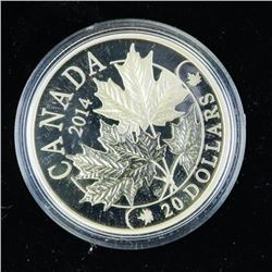 2014 $20.00 .9999 Fine Silver Coin Majestic Maple