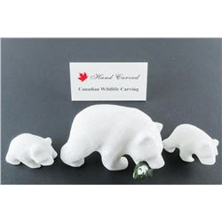 Grizzly Bear and Cubs - Star Marble Carvings Bear