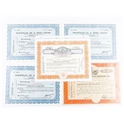 Estate Group (5) Stock Certificates 1950s-1960s (E