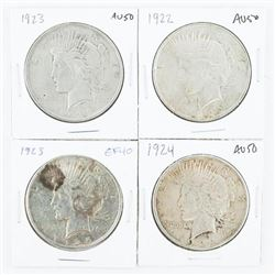 Group of (4) USA Silver Peace Dollars: 1922, 1923,