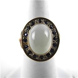 Ladies 9kt British Gold Ring - Cabochon Moonstone