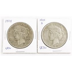 Lot (2) USA Silver Dollars 1922d and 1924 VF30