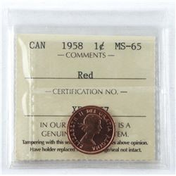 1958 Canada 1 Cent. MS-65. Red Penny. ICCS.
