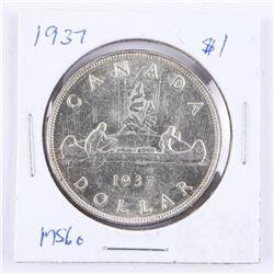 Canada 1937 Silver Dollar MS60