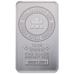 Royal Canadian Mint .9999 Fine Silver 10oz Bar. Se