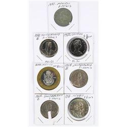 Group (7) World Coins: Switzerland, 1972 CAD Dolla