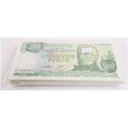 Bank of Argentina Brick (100) x 500 Pesos UNC