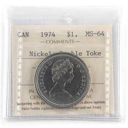 Estate 1974 - Canada 1.00 MS64 Nickel-Double Yoke