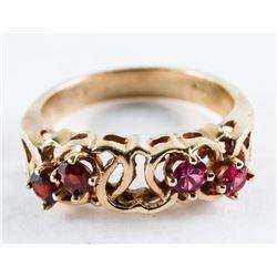 Ladies 10kt Gold Estate 4 Ruby Ring