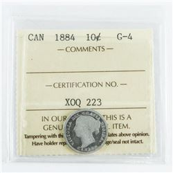 1884 Canada 10 Cent G-4. ICCS. (MME)