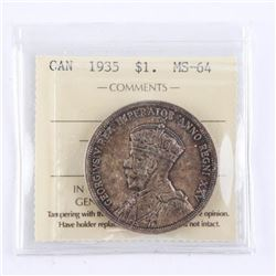 1935 CAD Silver Dollar MS64. ICCS. (First Issue)