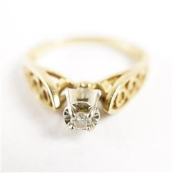 Estate Ladies 14kt Gold Diamond Solitaire Ring Siz
