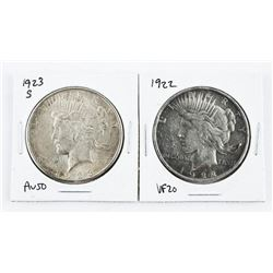 Lot (2) USA Silver Dollars: 1921 and 1923S. AU50 -
