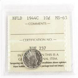 NFLD 1944C Silver 10 Cent MS-63. ICCS.