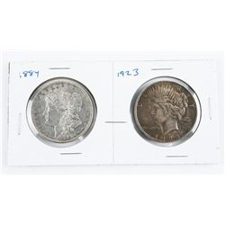 Lot (2) US Silver Dollars 1884 and 1923