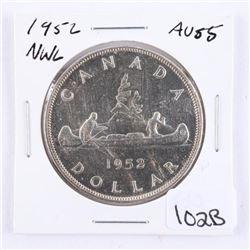 Canada 1952 Silver Dollar. AU55. NWL