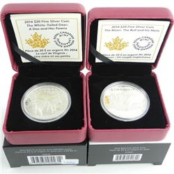Lot (2) .9999 Fine Silver $20.00 Coins