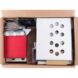 Box Lot - Coin Boxes, Storage Cases, Books etc