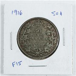 Canada 1916 Silver 50 Cent F15 (IR)