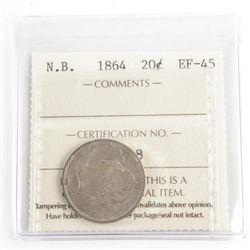 N.B. 1864 20 Cents EF-45. ICCS.