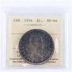 1954 Canada Silver Dollar. MS64 (SER)