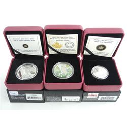 Grouping (3) .9999 Fine Silver $3.00, $10.00, $15.