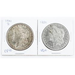 Lot (2) USA Silver Dollars: 1880 (VG10) and 1921(D
