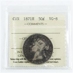 1871H Canada 50 Cent VG8 ICCS. (MXR)
