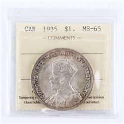 1935 CAD Silver Dollar MS65. ICCS. (First Issue)