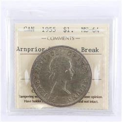 1955 Canada Silver Dollar Arnprior with Die Break