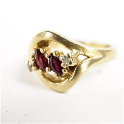 Estate Ladies 14kt Gold Ring Size 3/4 2 Rubies 2 D