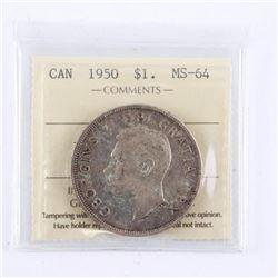 1950 Canada Silver Dollar. MS64. (SMR)