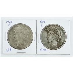 Lot (2) USA Silver Dollars: 1922 and 1923 (S)