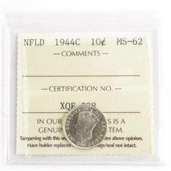NFLD 1944C 10 Cents MS-62. ICCS