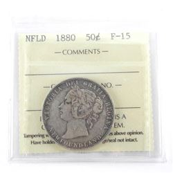 NFLD 1880 Silver 50 Cent F-15. ICCS.