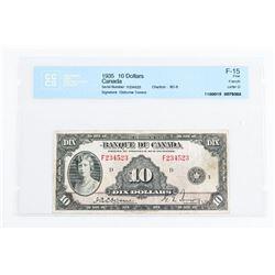 1935 Bank of Canada 10.00 F-15. CCCS. Osborne-Towe