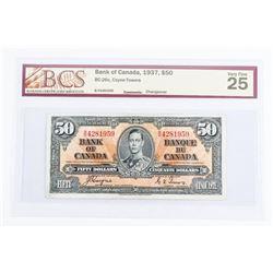 Bank of Canada 1937 50.00 VF-25. BCS