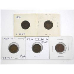 Lot (5) USA Indian Head Pennies