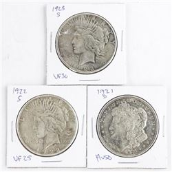Lot (3) USA Silver Dollars 1921(D) - 1922 (S) - 19