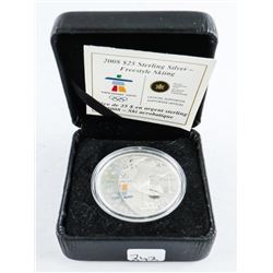 2008 925 Silver $25.00 Coin Olympics 'Skiing' LE/C