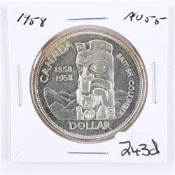 Canada 1958 Silver Dollar. AU55.