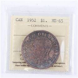 1952 Canada Silver Dollar. MS65. ICCS. WL (KER)