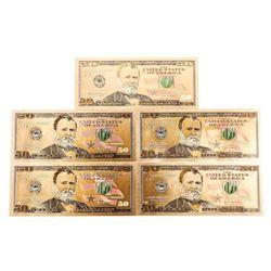 Lot (5) USA 24kt Gold Leaf 50.00 Notes
