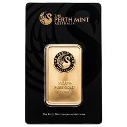 Australian 1oz .9999 Fine Gold Bar. Serialized. Co
