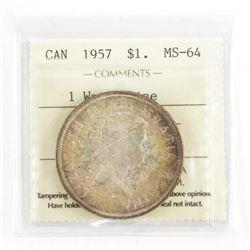 1957 Canada Silver Dollar MS64 ICCS 1WL (EXR)