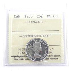 1955 Canada 25 Cent MS65. ICCS.