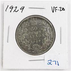 1929 Canada Silver 50 Cent (VF20)