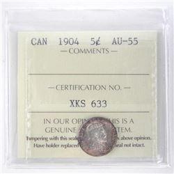 1904 Canada 5 Cent. AU-55. ICCS.